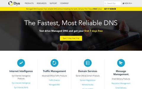 Screenshot of Products Page dyn.com - Dyn Product List DNS Remote Access Traffic Director - captured Oct. 2, 2015