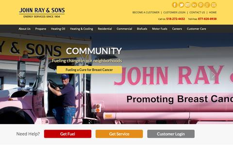 Screenshot of Home Page johnray.com - Welcome to John Ray & Sons - Energy Services Since 1904 - captured Oct. 14, 2018
