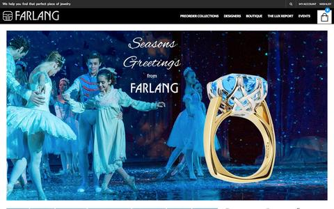 Screenshot of Home Page farlang.com - Custom jewelry by award winning designers around the globe - captured Jan. 21, 2015