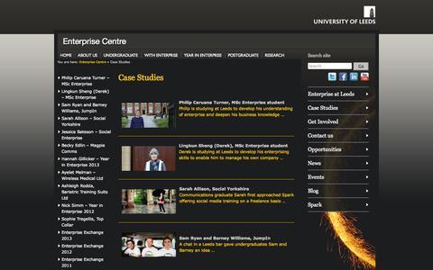Screenshot of Case Studies Page leeds.ac.uk - Case Studies » Enterprise Centre - captured Sept. 18, 2014