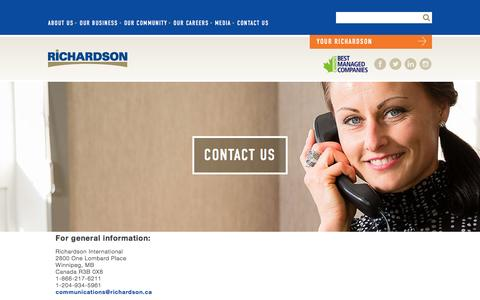 Screenshot of Contact Page richardson.ca - Contact Us | Richardson International - captured Nov. 30, 2016