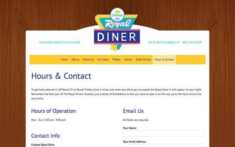 Screenshot of Hours Page chelsearoyaldiner.com - West Brattleboro, Vermont Restaurant | Hours & Contact | Chelsea Royal Diner - captured June 17, 2016