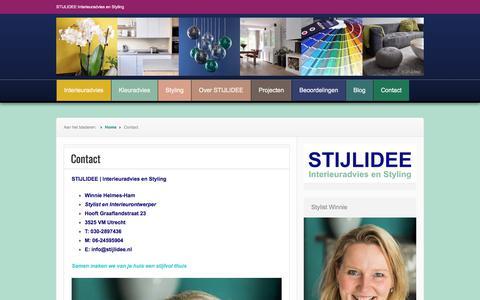 Screenshot of Contact Page stijlidee.nl - Contact | STIJLIDEE Interieuradvies en Styling - captured Nov. 11, 2017
