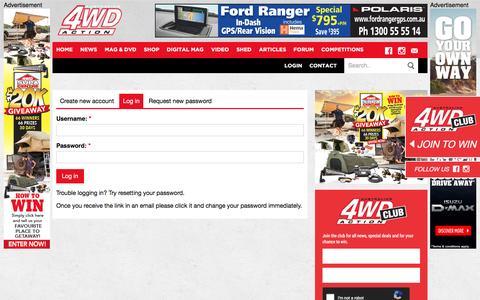 Screenshot of Login Page 4wdaction.com.au - User account   Australian 4WD Action - captured July 18, 2016
