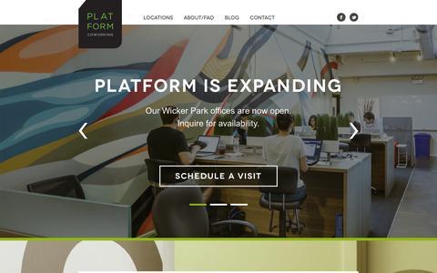 Screenshot of Home Page platformcoworking.com - Platform Coworking - Coworking Solution for Professionals in Chicago, IL Platform Coworking - captured Sept. 30, 2014
