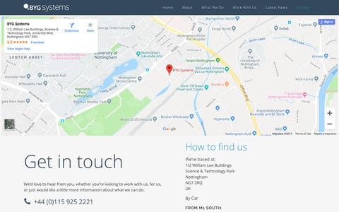 Screenshot of Contact Page bygsystems.com - Contact - BYG Systems - captured July 11, 2019