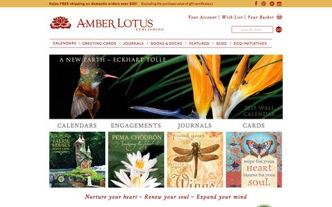 Screenshot of Home Page amberlotus.com - Amber Lotus Publishing | Calendars Greeting Cards Journals | Mind Body Spirit - captured Oct. 4, 2014