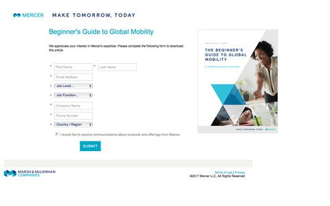 Screenshot of Landing Page mercer.com - Mercer's Guide to Global Mobility for Beginners - Whitepaper Download - captured March 27, 2018