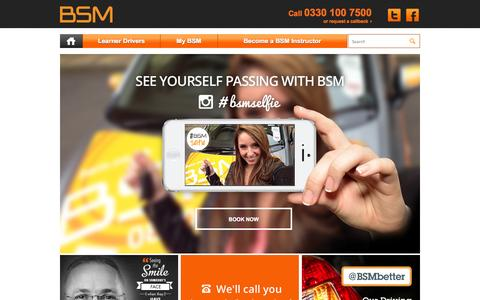 Screenshot of Home Page bsm.co.uk - BSM - BSM Driving Lessons call 0330 100 7500 - captured Sept. 22, 2014