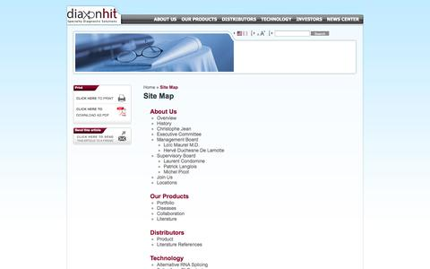 Screenshot of Site Map Page exonhit.com - Site Map   Diaxonhit - captured Oct. 3, 2014