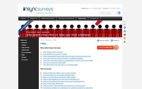 Screenshot of FAQ Page insyncsurveys.com.au - FAQs | employee survey | staff survey | employee engagement survey | customer survey | 360 feedback | exit interview - captured Oct. 6, 2014