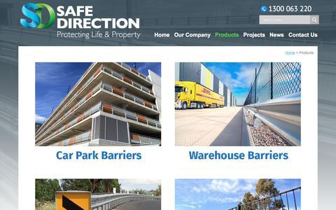 Screenshot of Products Page safedirection.com.au - Guardrails & Road Safety Barrier Products - Safe Direction - captured Sept. 27, 2017