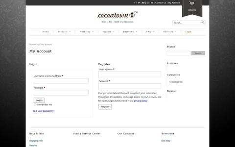 Screenshot of Login Page cocoatown.com - My Account - CocoaTown - captured July 19, 2018