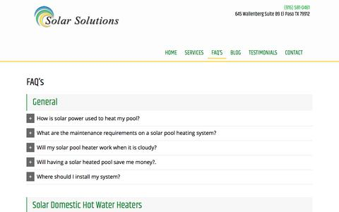 Screenshot of FAQ Page solarsolutions-texas.com - Solar Power Systems & Solar Panels in Las Cruces NM | GR Solar Solutions Inc - captured Oct. 17, 2016
