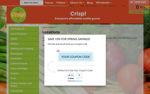 Screenshot of Locations Page crispgrocery.com - Locations – Crisp! Mobile Grocery - captured Feb. 1, 2016