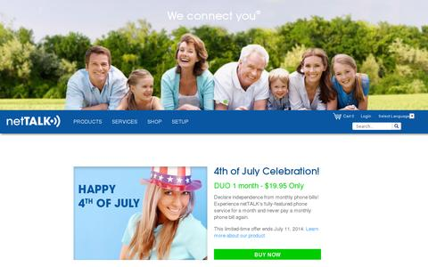 Screenshot of Home Page nettalk.com - FREE Home Phone Service Local and Long Distance Calls VoIP - netTALK - captured July 11, 2014