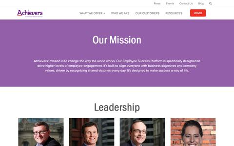 Screenshot of About Page achievers.com - Who We Are | Employee Rewards and Recognition Programs | Achievers - captured Dec. 24, 2016