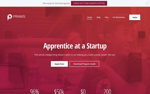 Screenshot of Home Page discoverpraxis.com - Praxis | Apprentice at a Startup - captured Jan. 23, 2018
