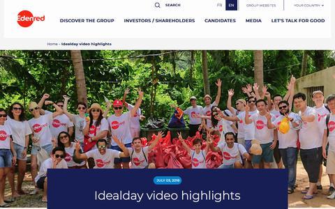 Screenshot of Press Page edenred.com - Idealday video highlights   Edenred - captured July 8, 2019