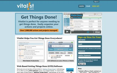 Screenshot of Home Page vitalist.com - GTD Software Online for Getting Things Done » Vitalist - captured Sept. 23, 2014