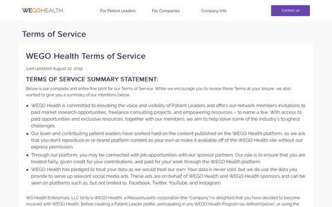 Screenshot of Terms Page wegohealth.com - Terms of Service - WEGO Health - captured Nov. 23, 2019