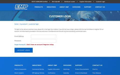 Screenshot of Login Page emp-corp.com - Engineered Machined Products : Customer Login - captured Sept. 28, 2018
