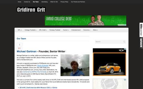 Screenshot of Team Page gridirongrit.com - Our Team | GridironGrit.com - captured Sept. 23, 2014