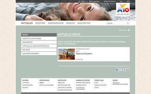 Screenshot of Press Page a10center.de - Neuigkeiten aus Ihrem Einkaufszentrum | A10 - captured Feb. 17, 2016