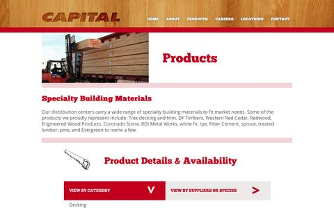 Screenshot of Products Page capital-lumber.com - Products   Capital Lumber - captured Sept. 27, 2014
