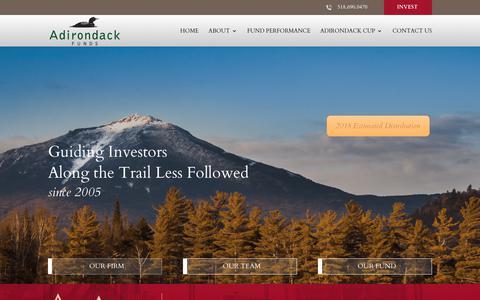 Screenshot of Home Page adirondackfunds.com - Adirondack Funds | Small-Cap Fund Investors | Adirondack Funds NY - captured Dec. 18, 2018