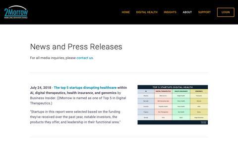 Screenshot of Press Page 2morrowinc.com - News for 2Morrow, Inc — 2Morrow - captured Nov. 17, 2018