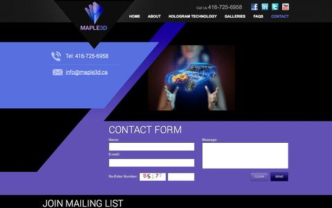 Screenshot of Contact Page maple3d.ca - Contact Us - captured Oct. 27, 2014