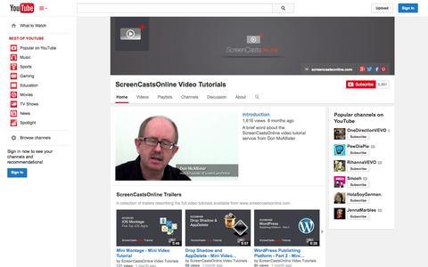 Screenshot of YouTube Page youtube.com - ScreenCastsOnline Video Tutorials  - YouTube - captured Oct. 23, 2014