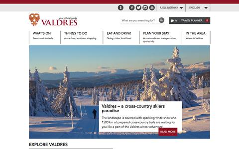 Screenshot of Home Page valdres.com - Welcome to Valdres - captured Feb. 16, 2016