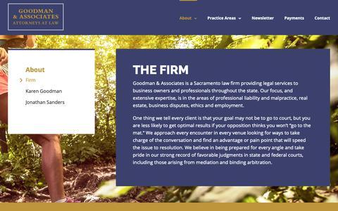 Screenshot of About Page goodman-law.com - Firm - Goodman & Associates - captured Sept. 29, 2018