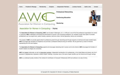 Screenshot of Home Page awc-hq.org - Association for Women in Computing (AWC) - Home - captured Jan. 23, 2015