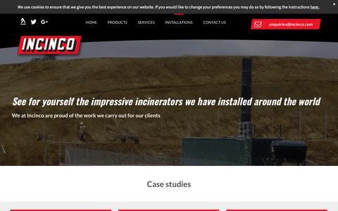 Screenshot of Case Studies Page incinco.com - Professional incinerator installations in Hertfordshire - captured July 10, 2018