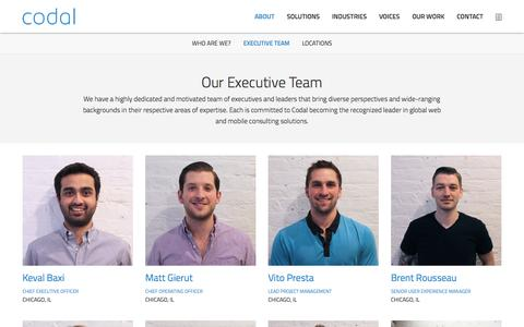Screenshot of Team Page codal.com - Executive Team - captured Oct. 2, 2014