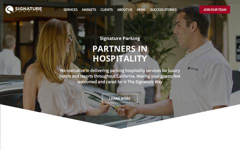 Screenshot of Home Page signatureparking.com - Santa Barbara Valet Parking Services by Signature Parking - captured Sept. 20, 2018