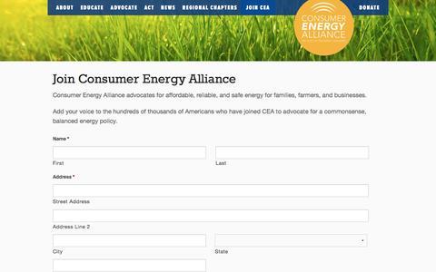Screenshot of Signup Page consumerenergyalliance.org - Join Consumer Energy Alliance - Consumer Energy Alliance - captured Jan. 2, 2017