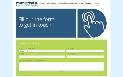 Screenshot of Contact Page mimetas.com - Contact | Mimetas - captured May 26, 2017
