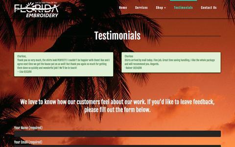 Screenshot of Testimonials Page floridaembroideryonline.com - Testimonials | Florida Embroidery in Brandon - captured Nov. 3, 2014