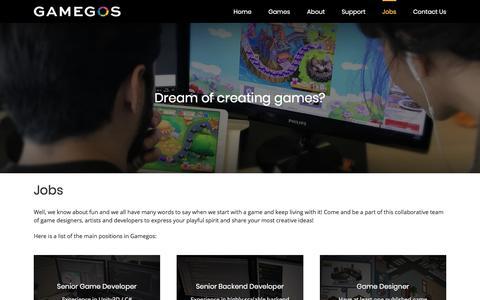 Screenshot of Jobs Page gamegos.com - Jobs – Gamegos - captured July 16, 2018