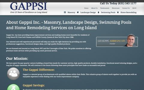 Screenshot of About Page gappsi.com - Gappsi | Masonry, Landscape Design, Swimming Pools, Home Improvements | - captured Oct. 2, 2014
