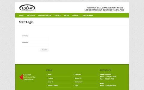 Screenshot of Login Page torrac.ca - TORRAC Oilfield Services - captured Oct. 9, 2014