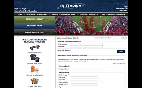 Screenshot of Login Page instadiumpromotions.com - Login : Sports Promotional Items, Team Promotions, Stadium Giveaways – In Stadium Promotions - captured Sept. 30, 2014