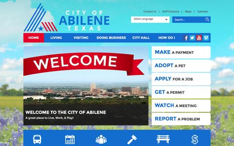 Screenshot of Home Page abilenetx.com - City of Abilene : Home - captured March 3, 2016