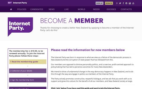 Screenshot of Signup Page internet.org.nz - Join | Internet Party of New Zealand - captured Oct. 13, 2017