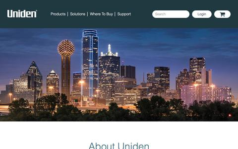 Screenshot of About Page uniden.com - About - Uniden - captured Sept. 20, 2018