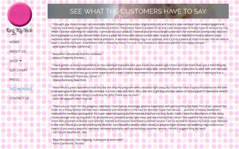 Screenshot of Testimonials Page ringmyneck.com - Ring My Neck | Testimonials - captured Oct. 9, 2014